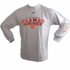 REEBOK 4789 RED LINE NHL HOCKEY LOGO LONG SLEEVE SHIRT- CALGARY FLAMES - MEDIUM