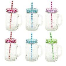 2 - 6 X CLEAR GLASS MASON JARS DRINKING SUMMER COCKTAIL JAR HANDLE & STRAW 450ML