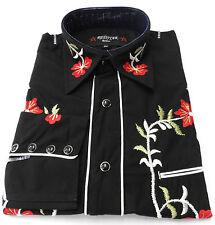 Negro Rojo Western Cowboy Bordado Vintage/retro Camisas