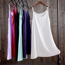 Full Slip Under Dress Cotton Strappy Spaghetti Underskirt Nightie Chemise New
