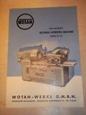 Vtg Wotan-Werke Catlaog~Grinding Machine RJ133~Tool
