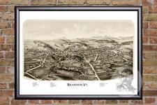 Vintage Brandon, VT Map 1890 - Historic Vermont Art - Old Victorian Industrial