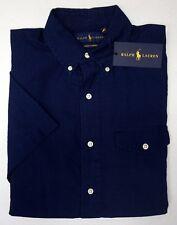 NWT $125 Polo Ralph Lauren Navy Blue Indigo Shirt Mens Short Sleeve NEW Cotton