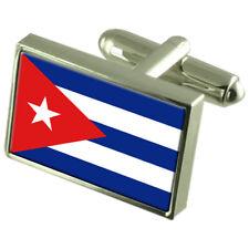 Cuba Flag Cufflinks Tie Clip Lapel Badge Engraved Gift Set Cufflink Box WFC105