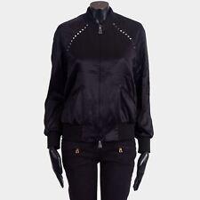 VALENTINO 2950$ New SS18 Black Satin Rockstud Untitled Bomber Jacket