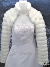WHITE Faux Fur Bolero Jacket Coat Wrap Bridal XS-XXL