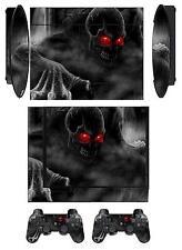 Skin Sticker PS3 PlayStation 3 Super Slim and 2 controller skins Dark Skull Q205