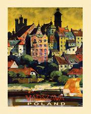 SEE Poland Warsaw Warszawa City Travel Tourism Vintage Poster Repro FREE S/H