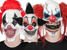 Fancy Dress Scary Clown Mask Halloween Horror Accessory Mask + Hair New