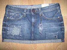 NWT Pepe jeans London 73 Rosetta distressed denim short mini skirt feather Large