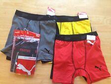 Puma Underwear Underpants 2pk Boxer Briefs Boys S M Gray Yellow Black NEW
