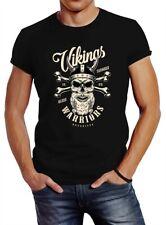 Herren T-Shirt Vikings Skull Wikinger Totenkopf Bart Slim Fit Neverless®