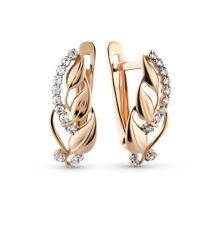 SET Earrings Ring Rose Gold 14K lab. diamond NEW Russian fine jewelry 585 3g
