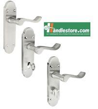 Shaped Scroll Satin Chrome Door Handle Sets Latch, Bathroom, Lever lock 168x42