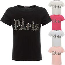 Mädchen Kinder T-Shirt Kunstperlen Hologramm Bluse Kurzarm Shirts Short 22547