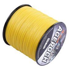 New!100M-2000M 10LB-300LB Yellow 100% PE Dyneema Agepoch Braided Fishing Line