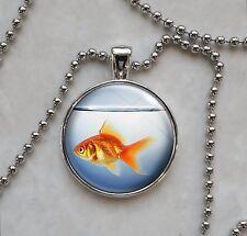 Orange Goldfish in Fish Bowl Animal Pendant Necklace