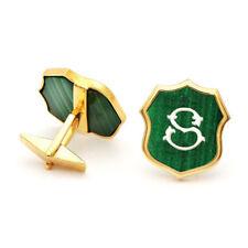 925 Sterling Silver Gemstone Customized S Alphabet Font Cufflinks Men's Jewelry