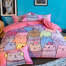 3D Cartoon Color Cat8 Bed Pillowcases Quilt Duvet Cover Set Single Queen King CA