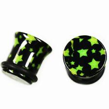 Schwarzer Kunststoff PIERCING Plug mit grüne Sterne Flesh Tunnel Ohrloch dehnen