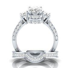 Women Fashion 925 Sterling Silver White Topaz Ring Set Wedding Bridal Jewelry