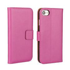 Rosa Caldo Lusso Real Leather Wallet Stand Case tasca carta per iPhone 7 UK VENDITA