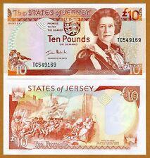 Jersey, 10 pounds, ND (2000), QEII, Pick 28, UNC