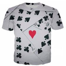 Women/Men Clubs Hearts Poker Playing Cards 3D Print Casual T-Shirt Short Sleeve
