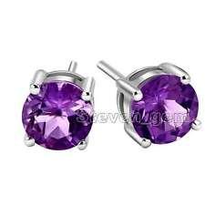 SALE Small 3mm Purple Zircon Four Claws Silver 925 Stud Earring-ear574