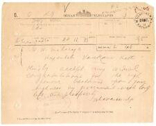 India 1911 KCIE congratulation telegram to Raja Wankaner from Raja Jhalawar