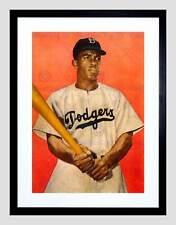 VINTAGE JACKIE Robinson Da Baseball Di Brooklyn Dodgers Framed Art Print b12x11818