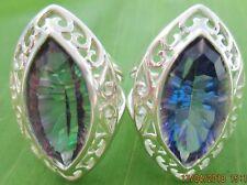 925 sterling silver Purple - Blue Mystic Topaz Big Women ring size M 1/2-O 1/2