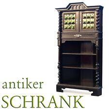 VITRINE schwarz Vollsäulen Danziger Barock Antiquität Zigarrenschrank Anrichte