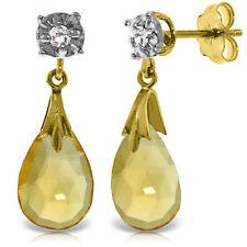 Genuine Diamond Studs Natural Citrine Briolette Dangles Earrings 14K. Solid Gold