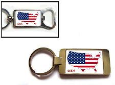 USA UNITED STATES OF AMERICA FLAG MAP KEYRING KEYFOB OR BOTTLE OPENER GIFT