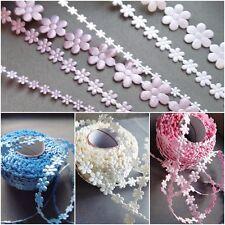 MINI satin Daisies lace ribbon  BRIDAL CRAFTS florist cards gift Pink Ivory