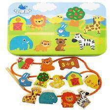Wooden Lacing Beads Animals Stringing Blocks Box Threading Educational Toy C