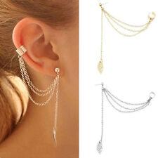 Women Fashion Punk Rock Leaf Chain Tassel Dangle Ear Cuff Wrap Earrings Ear Clip