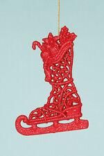 Arbre de noël skating boot/stocking arbre décoration x2 en or rouge ou argent