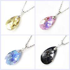 Swarovski Elements Crystal Teardrop Pendant STR Silver Adjustable Chain Necklace