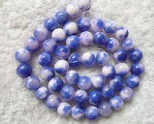 Royaume-Uni Le Moins Cher-pois bleu blanc Jade Rond 4 6 8 10 mm Gemstone Beads