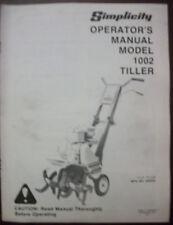 SIMPLICITY OPERATOR'S MANUAL MODEL 1002 TILLER #1690322