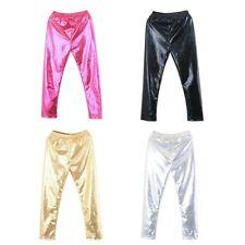 UK Baby Kids Girls Metallic Leggings Cropped Pants Stretch Trousers Child 2-10T