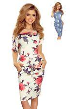 Numoco Kleid knielang Kurzarm stretch figurumspielend lässig Taschen
