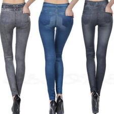 Damen Stretch Hose Jeans-Look Röhre Skinny Leggings Trousers Jeggings Hose