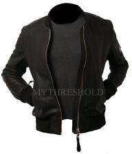 Mens Biker Motorcycle Vintage Black Bomber Winter Leather Jacket