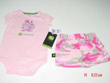 NWT Infant Girls John Deere 2 Piece Outfit Creeper Denim Camouflage Short Set