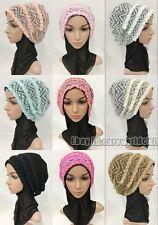 New Muslim Women Ladies Caps Hijab Fashion Lace Floral Islamic Hat Headwear
