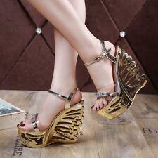 Women Clubwear High Heels Open Toe Platform Hollow Wedge Shoes Slingback Sandals