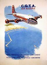 Vintage argelino las compañías aéreas de vuelos a Francia Poster A3 impresión